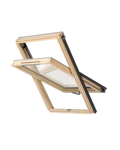 RoofLITE NITO Slimline DVX 500 F6A Vented Pine Centre Pivot Roof Window 66x118cm