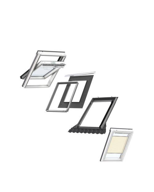 VELUX CK04 Centre-Pivot White Painted Window & Beige Pleated Blind Bundle for Tile 55x98cm