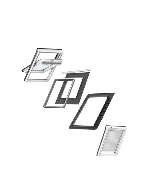 VELUX CK04 Centre-Pivot White Polyurethane Window & White Venetian Blind Bundle for Slate 55x98cm